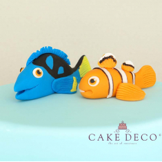 Cake Deco Small fishes (inspired by the disney figures Nemo and Doris)