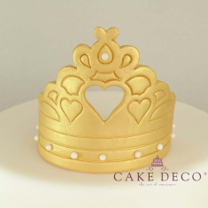 Cake Deco Gold Crown with heart in the centre