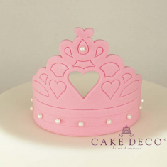 Cake Deco Babypink Crown with heart in the centre