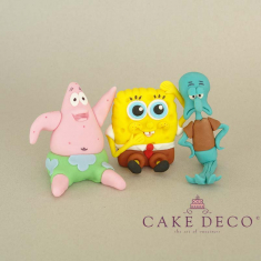 Cake Deco Sponge figure with its friends (inspired by the cartoon SpongeBob)
