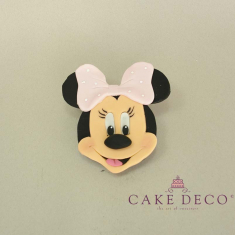Cake Deco Label with Mouse Girl with babypink bow (inspired by the Disney figure Minnie)