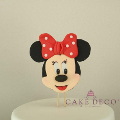 Cake Deco Label with Mouse Girl with red bow (inspired by the Disney figure Minnie)