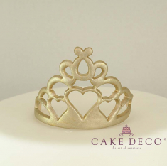 Cake Deco Gold Corona with hearts