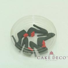 Μαύρες γόβες με φούξια φιόγκο (5τεμ.)