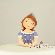 Cake Deco half princess with purple dress having flowers (inspired by the disney character Sofia)
