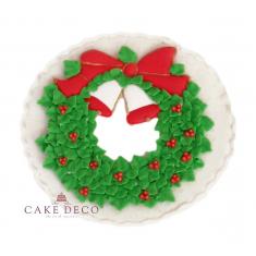 Handmade plaquette topper 'Xmas wreath'
