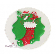 Handmade plaquette topper 'Xmas Wreath & Stocking'
