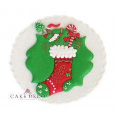 Χειροποίητη Πλακέτα Χριστουγεννιάτικο Στεφάνι με κάλτσα