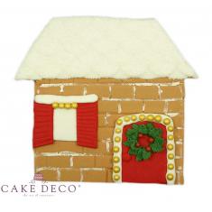 Handmade sugarpaste plaquette Topper 'Snowed House'