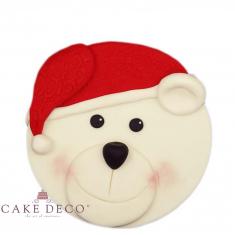Handmade sugarpaste plaquette topper 'Bear with Hoodie'