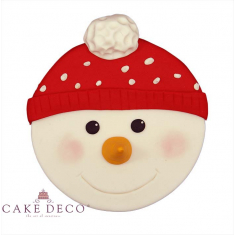 Handmade sugarpaste plaquette topper 'Snowman with Hoodie'