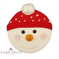 Χριστουγεννιάτικη Βρώσιμη Πλακέτα Ζαχαρόπαστας - Χιονάνθρωπος με σκουφάκι