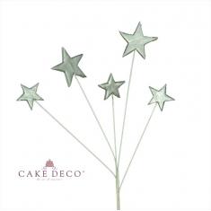5 Silver Stars on wire Diam:2-3cm