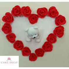 Πλακέτα Καρδιά με Τριαντάφυλλα - Λευκό Αρκουδάκι