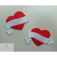 Μίνι Πλακετίτσες - Καρδιές με πανώ Love - Σετ 20 τεμ.