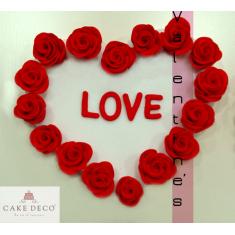 Πλακέτα Καρδιά με Τριαντάφυλλα - LOVE
