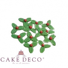Edible sugarpaste Holly (3 leaves with a red pearl) Diam:3cm - Container of 10pcs
