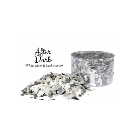 After Dark Black White  Silver Edible Flakes