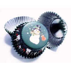 Θήκες αλουμινίου για Cupcakes Χιονάνθρωπος - 30 Τεμ