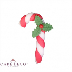 Striped Red White Xmas Cane with Holly - 5pcs