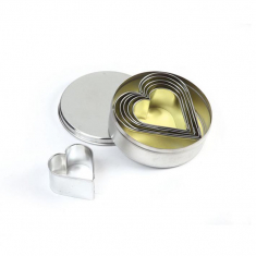 Inox Metal Smooth Heart Cutters Set of 6