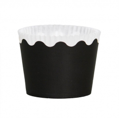 Small Cupcake Cups with anti-stick Baking Sheet D5,7xH4cm. Black 65pc