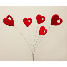 Heart with design on a Wire 5pcs/branch