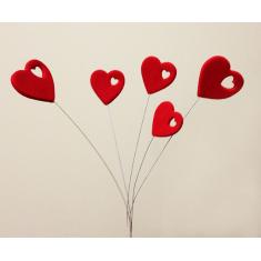 Heart with design 5pcs/branch - Set 15pcs