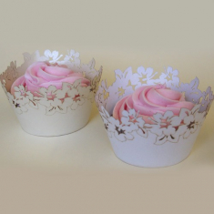 White Flowers Cupcake Wrappers  12pcs