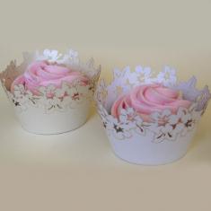 Λευκές Διακοσμητικές Θήκες για Cupcakes Γάμου 12τεμ.