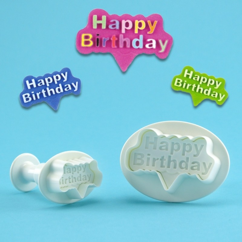 Happy Birthday Plunger Cutter Set Of 2