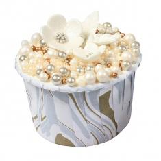 Θήκες Cupcakes Σχέδιο μάρμαρου σε Λευκό Ασημί Χρυσό - 5,8εκ. 24τεμ.