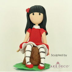 Cake Deco little brunette girl without mouth (inspired by the cartoon figure Gorjuss)