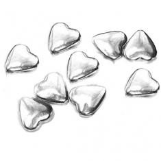 Metallic Silver Choco Hearts D1cm 180g