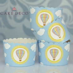 Vintage Air Balloon Cupcake Baking Cases  with anti-stick liner D7xH4,5cm. 20pcs