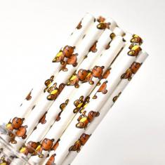 Χάρτινα Καλαμάκια με ζωάκια - Αρκουδάκι