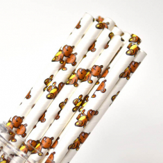 Animal Paper Straws Teddy Bear