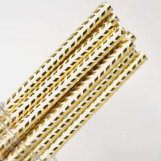 Chevron Paper Straws Gold Foil