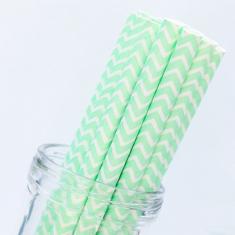 Chevron Paper Straws Mint Light Green