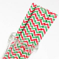 Χάρτινα Καλαμάκια Σέβρον - Κόκκινο/Πράσινο