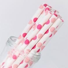 Χάρτινα Καλαμάκια Πόλκα - Ροζ/Ανοιχτό Ροζ