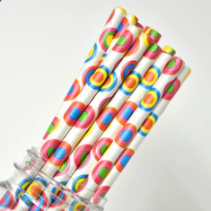 Dot Paper Straws Rainbow