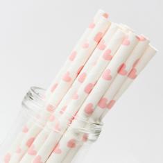 Χάρτινα Καλαμάκια με καρδούλες - Ανοιχτό Ροζ