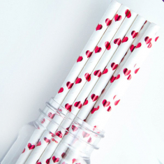 Χάρτινα Καλαμάκια με καρδούλες - Κόκκινο Μεταλλιζέ