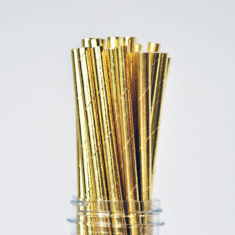 Solid Paper Straws Gold Foil