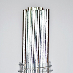 Solid Paper Straws Silver Foil