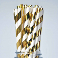 Χάρτινα Καλαμάκια Ριγέ - Χρυσό Μεταλλιζέ
