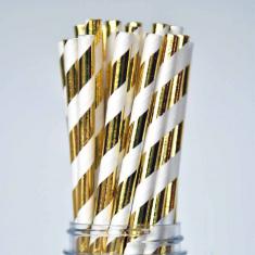 Stripe Paper Straws Gold Foil