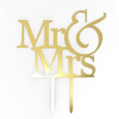 Gold Plexiglass Topper Mr & Mrs 12cm. Design 1