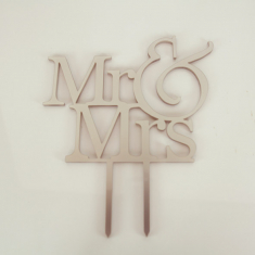 Silver Plexiglass Topper Mr & Mrs 12cm. Design 1